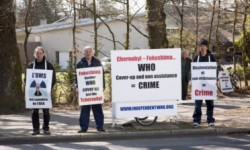 The Vigil is held in front of the World Health Organisation (WHO) headquarters. It has been maintained every working day since the 26th April 2007 to remind this United Nations body of its duties as defined in its constitution. A victim of Fukushima outside WHO